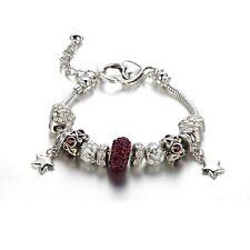Bracelet Charm's Coeur, Cristal de Swarovski Elements Prune et Plaqué Rhodi