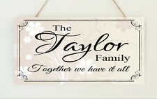 Beautiful Handmade Personalised Plaque Family Surname Gift Sign Present Chic