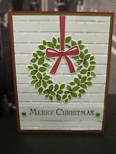 "Stampin Up ""Merry Christmas"" Wondrous Wreath brick embossed Handmade Card"