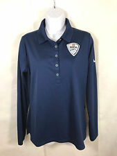 Nike Womens NBC 2014 Sochi Winter Olympics Long Sleeve Polo Shirt Top Sz M Blue