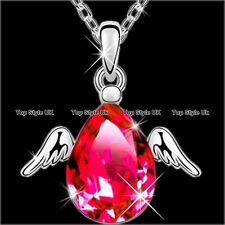 Angel Wings Necklace Ruby Pendant Silver Jewellery Christmas Gifts for Her Gf D4