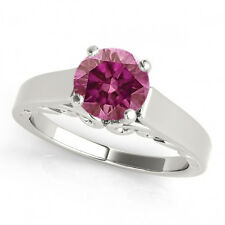 0.35 Cts Pink VS2 RDSolita e Ring 14K White Gold HPHT Valentineday Spl. Sale