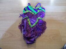Child Size Small 4-6 Art Stone Purple Green Fringed Sequined Dance Leotard GUC
