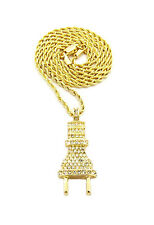 "Mens Iced Out 14K Gold Plated Electric Plug CZ Pendant 2mm 24"" Rope Chain"