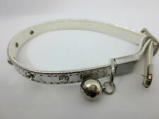 Pet Cat Kitten Collar Diamante Studded Buckle,Safety Elastic & Bell- Silver