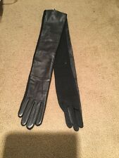 Lauren Ralph Lauren Long Black Leather Gloves Size S M7