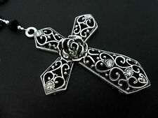 "A MASSIVE MADONNA STYLE  CROSS BLACK BALL CHAIN NECKLACE. GOTH. 26"" LONG. NEW."