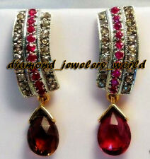 Vintage Estate 2.05ct Rose Cut Diamond Jewelry Ruby .925 Sterling Silver Earring