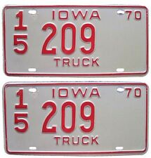 Iowa 1970 Truck License Plate PAIR Atlantic IA, Cass County for Ford Chevy Dodge