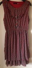 Tenki @ Debenhams Red/Grey Owl Print Dress M/L Uk Size 10-12