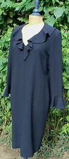 JEAN MUIR Classic Vintage Wool Crepe Black Ruffle Collar Shift Dress UK 16