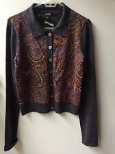 NWT DKNY Womens Long sleeve Buttoned cardigan. Medium. Paisley Print. Wool, Silk