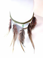 LADIES STUNNING GREEN BROWN CHOKER MULTI LAYER FEATHERED AZTEC UNIQUE (B3)