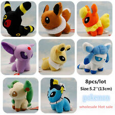 Set of 8 New Pokemon Evolution of Sit Eevee Sylveon Umbreon Leafe Plush doll Toy