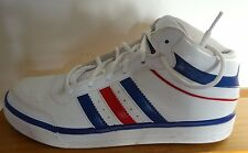 ADIDAS baskets homme, blanc + rouge/rayures bleu, taille 7.5