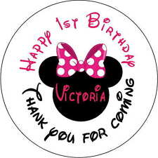 24 1st ears minnie mouse stickers Birthday Party 1.6 Inch Personalized  red pink