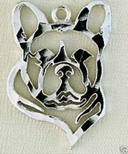 French Bulldog Dog Head Small Charm Jewelry-.925 Sterling Silver-Microsculptures