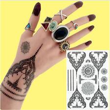1Pc Tatouages Ephémères Tattoos Temporaires Imperméables de Fleur Lace Noir