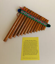 "Peruvian Pan Pipes Flute 13 Notes In Bamboo 5"" X 6 1/2"" For Beginners New"