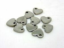 10 Pcs - 10mm Stainless Steel Heart Pendants Charms Jewellery Beading Craft J31