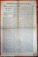 gx 41 Milano SUPPLEMENTO ALLA GAZZETTA UFFICIALE - 3 maggio 1850 n.123
