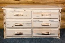 Rustic Bedroom Dresser Amish Made Solid Pine Dressers 6 Drawer Lodge Rustic