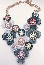 Large Flowers & Leaves Chunky Festival / Statement Necklace - Grey & Pastel