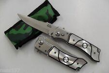Couteau Pliant de Poche Lame Acier 9,2 cm Manche Alu 11 cm Chasse Peche Bivouac