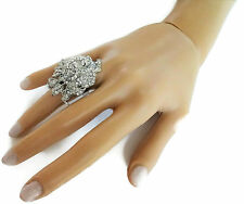 Beautiful Cocktail Ring Crystal Diamante Flower Design Adjustable Size