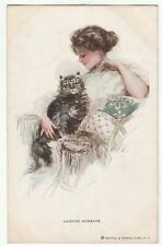 Harrison Fisher Signed Postcard Glamorous Lady and Pet Cat R&N 199