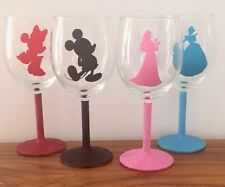 Characters Wine Glasses With Glittered Stem, Disney, Pixar, Princesses Etc
