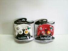 2 NEW Red and White Controllers for Nintendo Gamecube Wii System Control Pad