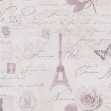 Calligraphy Heather Paris Stamps Eiffel Tower Wallpaper by Holden 97751
