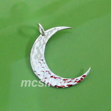 Hammered 925 Sterling Silver CRESCENT MOON Charm Pendant Chain Necklace Bracelet