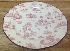 Wood & Sons England Red Toile 1 Dinner Plate Country Village Scenes Off White