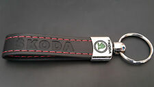 SKODA Schlüsselanhänger aus Eco Leder 2-Seitig Logo Emblem Octavia Fabia Superb