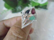 Natural EMERALD, RUBY & SAPPHIRE & CZ Sterling 925 Silver RING Size 7.0