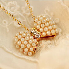 New Design Double Pearl Bow Pendant Necklace Statement Jewelry For Women