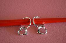 925 Sterling Silver Small Hoop w/ Dangle Heart Earrings Jewelry