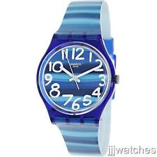 New Swiss Swatch Linajola Women Bold Blue With Stripes Rubber Watch 34mm GN237