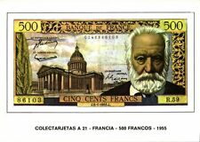 france, Cinq Cents 500 Francs 1955, BANKNOTES Modern Money Postcard