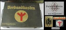 WWII GERMAN ELITE UNITS LARGE COMPLETE FIRST AID SET IN METAL CASE VERY RARE