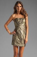 NWT Haute Hippie Metallic Gold & Black Twist Front Strapless Mini Dress M $495
