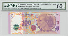 2012 ND Argentina Banco Central  *STAR* REPLACEMENT PMG 65 EPQ GEM UNC P#:358r