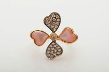 $2450 Carlo Viani Levian Chocolate Diamond Pink MOP Flower 14k Gold Ring