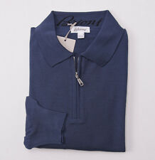 NWT $825 BRIONI Slate Blue Extrafine Merino Wool Sweater Slim 48/M Half-Zip Polo