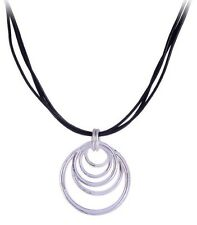 925 Sterling Silver Plated Round Charm Pendant Black Leather Cord Necklace