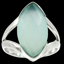 Aqua Chalcedony 925 Sterling Silver Ring Jewelry s.7 RR23069