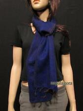 Mu05 Handloom soft yak wool Winter reversible Blue Muffler scarf Throw Nepal