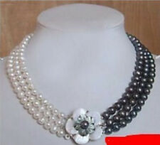 3rows 7-8mm white&black Freshwater Akoya Pearl Necklace 17-19""